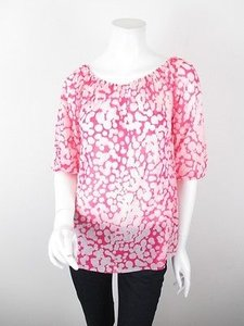 Sweet Pea by Stacy Frati Anthropologie Polka Dot Nylon Mesh Peasant S Top Pink, White