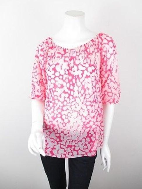 Sweet Pea by Stacy Frati Anthropologie Polka Dot Nylon Mesh Peasant S Top Pink, White Image 0