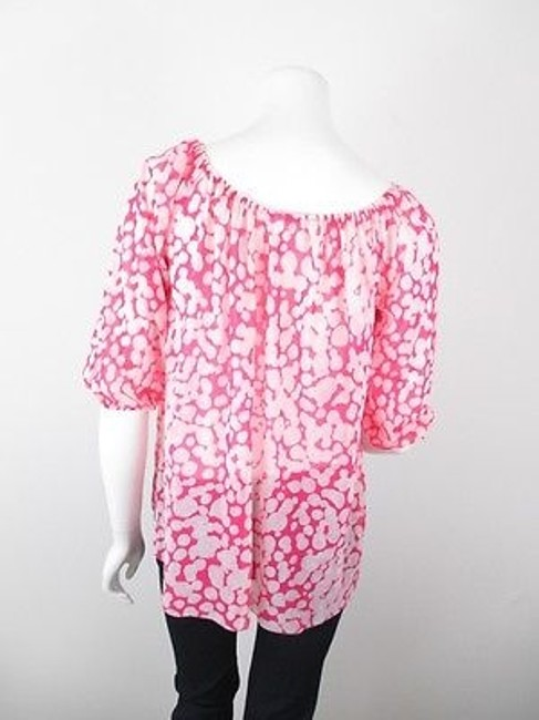 Sweet Pea by Stacy Frati Anthropologie Polka Dot Nylon Mesh Peasant S Top Pink, White Image 2