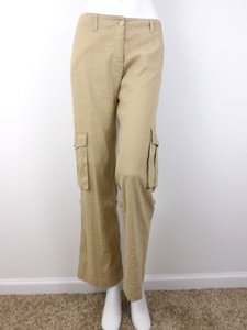 Theory Linen Blend Stretch Pocket Cargo Pants Khaki