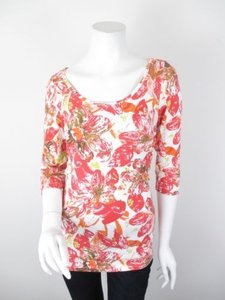 CAbi Splash Floral Scoop Neck Ruched Sides 34 Sleeve Shirt 886 Top Pink, White, Orange