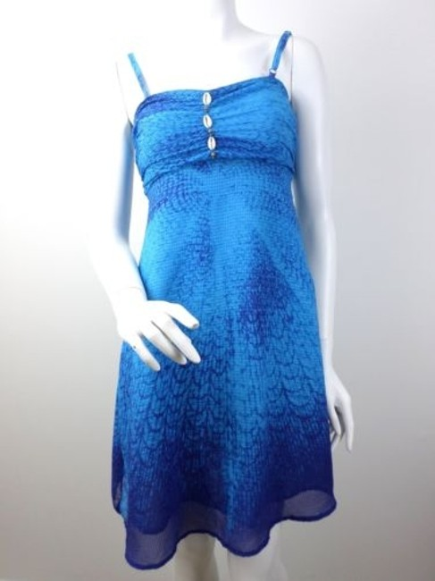 Free People short dress Blue Chiffon Sea Shell Spaghetti Strap on Tradesy