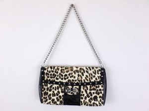 White House | Black Market Leopard Print Calf Evening Purse Black, Brown Clutch