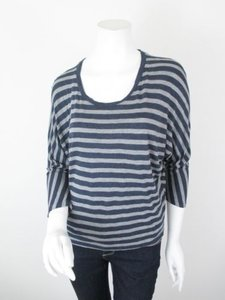 Vince Striped Dolman Sleeve Rayon Crop Shirt Top Blue, Gray