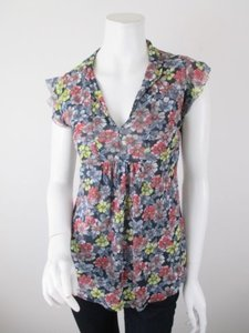 Daisy & Clover By Sweet Pea Black Red Floral Nylon Mesh Shirt Top Multi-Color