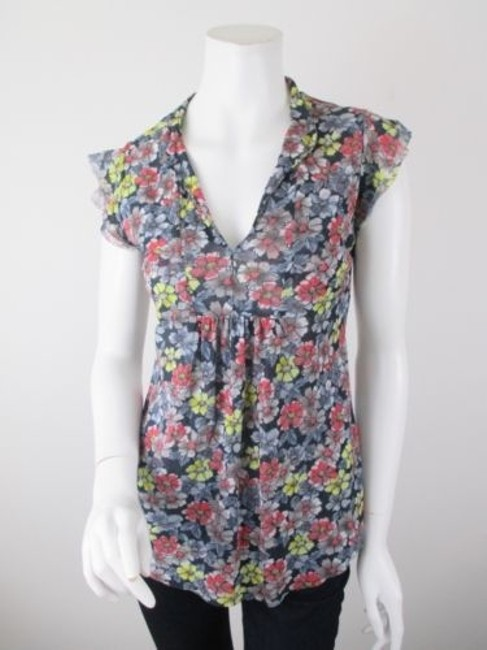 Daisy & Clover Sweet Pea Black Red Floral Nylon Mesh Shirt Top Multi-Color