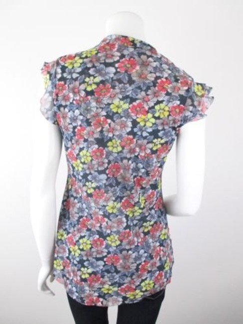 Daisy & Clover By Sweet Pea Black Red Floral Nylon Mesh Shirt Top Multi-Color Image 2
