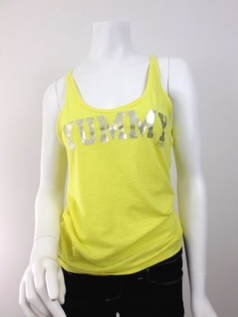 Victoria's Secret Pink Yummy Racerback Shirt Top Yellow