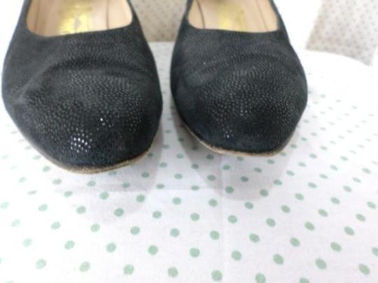 Salvatore Ferragamo Suede Polka Dot Textured Aa Black Pumps