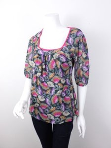 Sweet Pea by Stacy Frati Anthropologie Asian Inspired Fan Nylon Mesh Shirt Top Black