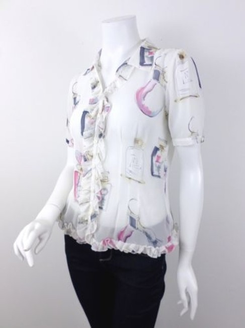 CAbi Sheer Ruffle Perfume Bottle Pattern Style 521 Top Ivory