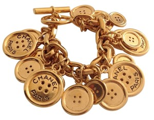 Chanel CHANEL PARIS RARE VINTAGE GOLD PLATED BUTTON CHARM BRACELET