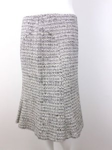 Max Mara Tweed Virgin Wool Alpaca Blend A Line Skirt Black, White, Ivory