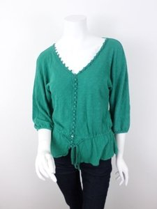 Deletta Anthropologie Peplum Button Skyler White Breaking Bad Top Green