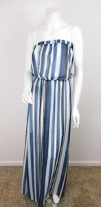 Blue, Black, White Maxi Dress by BB Dakota Bb Urban Outfitters Baltic Striped Strapless Maxi
