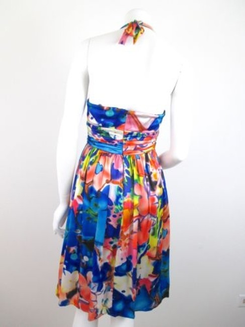 Muse short dress Blue Floral Pink Green 100 Silk Halter Cocktail Party on Tradesy