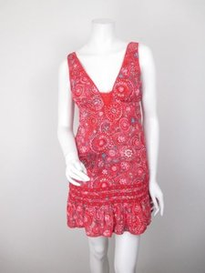 Free People short dress Red, Blue Red Floral Ruffle on Tradesy
