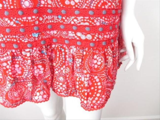 Free People short dress Red, Blue People Red Floral Ruffle Crochet Lace Cotton Mini Tank on Tradesy