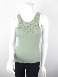 Sparkle & Fade Urban Outfitters Crochet Lace Neckline Ribbed Top Green