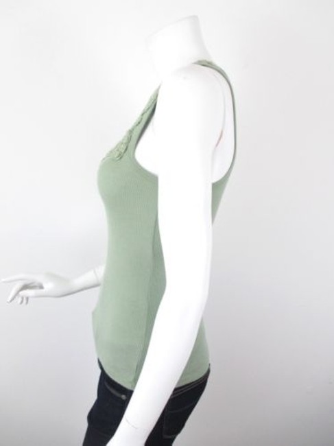 Sparkle & Fade Outfitters Crochet Lace Neckline Ribbed Top Green Image 1