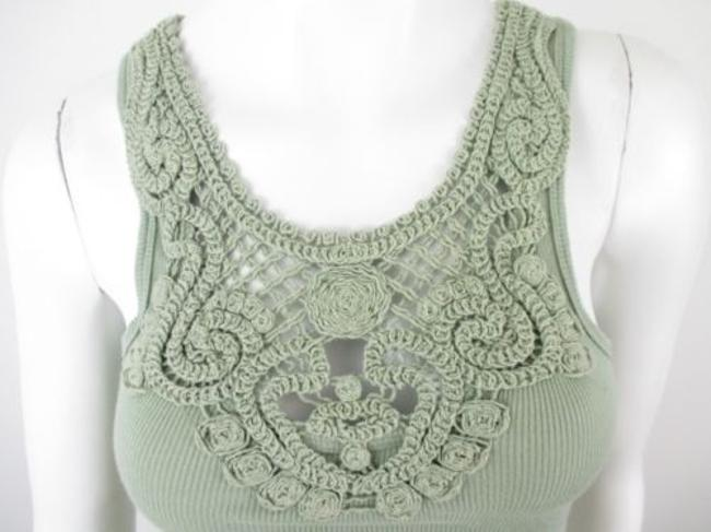 Sparkle & Fade Outfitters Crochet Lace Neckline Ribbed Top Green Image 4
