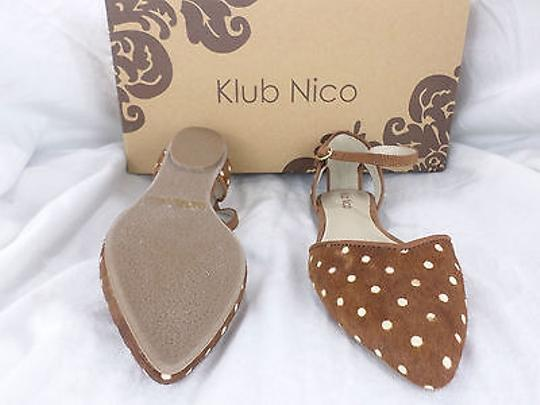 Klub Nico Anthropologie Rosine Dorsay Polka Dot Calf Hair 5 Tan, Ivory Flats