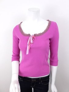 Free People Perforated Ribbon Top Pink