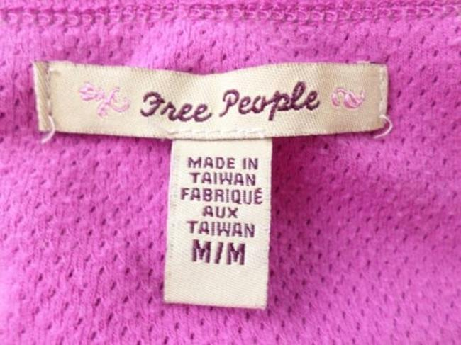 Free People Perforated Ribbon Lace Crop Peasant Shirt Top Pink