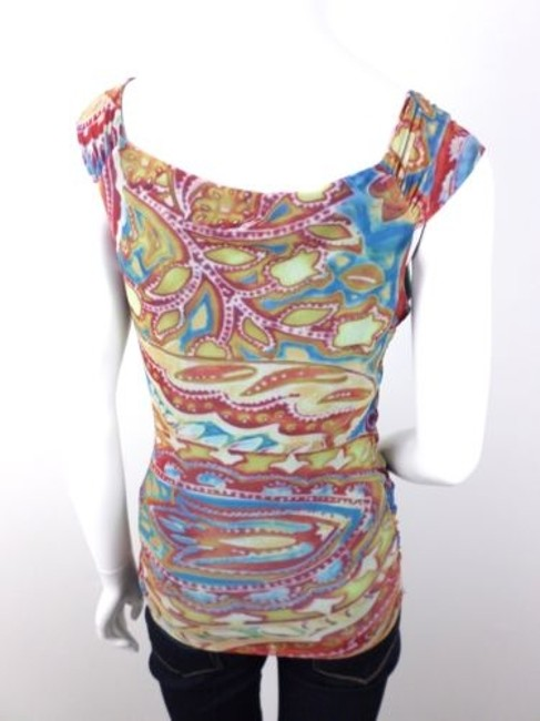 Weston Wear Anthropologie Abstract Paisley Stretch Mesh Nylon Top Multi-Color