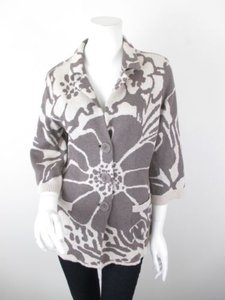 NIC+ZOE Cream Brown Gray Floral Button Front Silk Cotton Cardigan Sweater