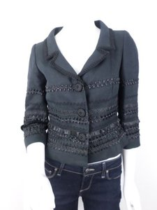 Etcetera Etcetera Black 100 Linen Straw Embroidered Embellished Blazer Jacket 0