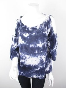 Hazel Anthropologie Blue Top Blue, White