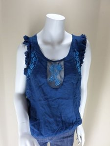 Free People Lace Cut Out Top Blue
