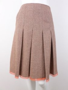 Etcetera Tweed Pleated Wool Blend Lined Skirt Orange, Brown, Beige