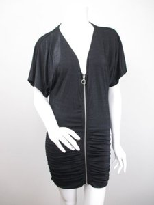 MINKPINK Urban Outfitters Shimmer Zipper Front Ruched Mini Dress