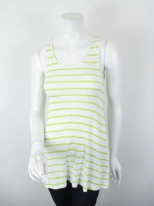 Free People People Striped Flared Ribbed Cotton Tunic Top White, Green