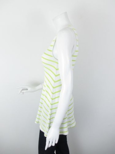 Free People Striped Flared Ribbed Cotton Tunic Top White, Green