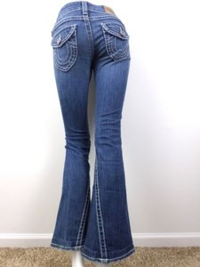 True Religion Dark Wash Joey Natural Big T Bootcut Distressed 25 X Flare Leg Jeans