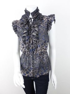 Lapis Gray Cheetah Print Ruffle Shirt Top Gray, Blue