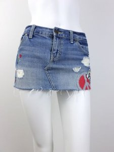 Victoria's Secret Victorias Pink Denim Distressed Jean Mini Peace Sign Patch Mini Skirt Blue