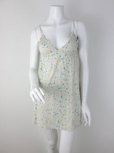 Victoria's Secret Pink Green Yellow Blue Polka Dot Long Top Cream