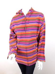 Chico's Lgbt Pride Striped Cotton Knit Full Zip Jacket Sweater