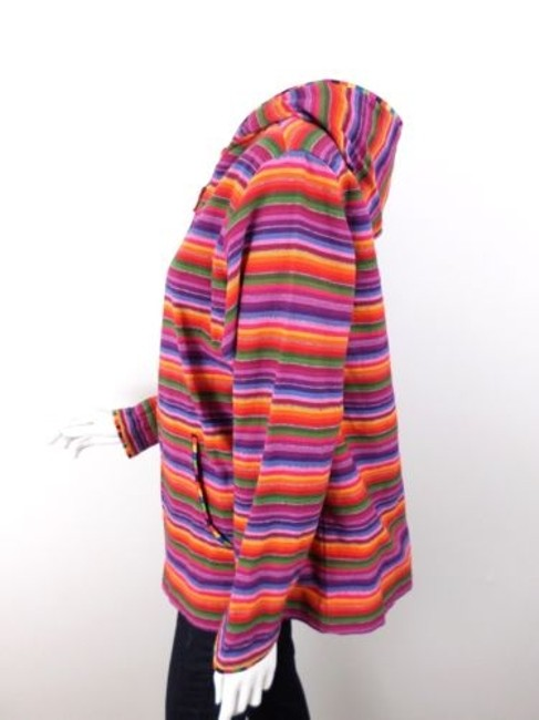 Chico's Lgbt Pride Striped Cotton Knit Full Jacket Sweater Image 1