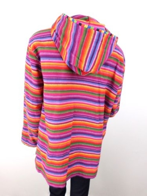Chico's Lgbt Pride Striped Cotton Knit Full Jacket Sweater