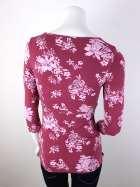 Other Cross Stitch Heart Anthropologie Floral Shirt Top Maroon