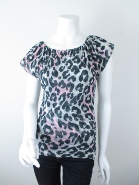 Sweet Pea by Stacy Frati Anthropologie Leopard Print Mesh Top Gray, Black, Pink