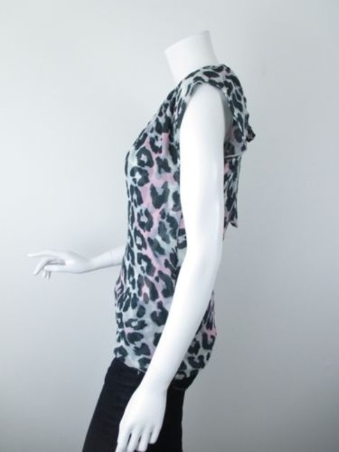 Sweet Pea by Stacy Frati Anthropologie Leopard Print Mesh Top Gray, Black, Pink Image 1