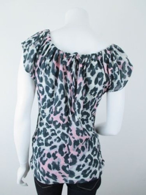 Sweet Pea by Stacy Frati Anthropologie Leopard Print Mesh Top Gray, Black, Pink Image 2