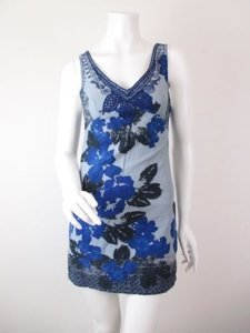 Free People Floral Embroidered Neckline Sleeveless Mini Dress