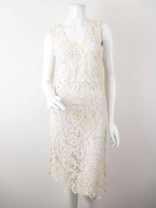 Charlotte Tarantola short dress Cream Anthropologie Lace Sheer Asymmetrical Hem on Tradesy
